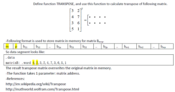 Define function TRANSPOSE, and use this function t