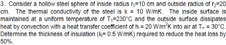 Consider a hollow steel sphere of inside radius r1