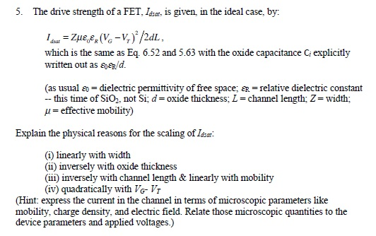 The drive strength of a FET, ldasr is given, in th