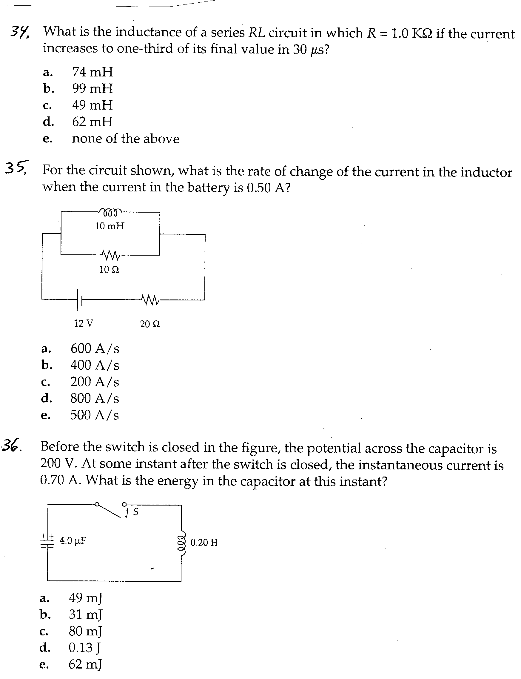 What is the inductance of a series RL circuit in w
