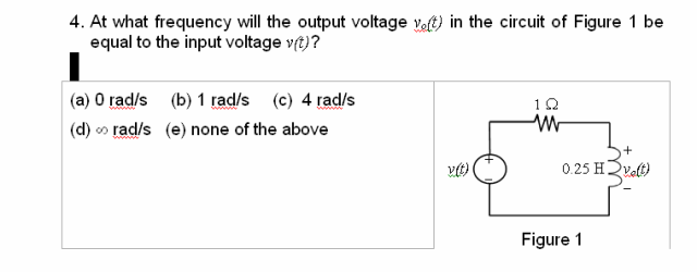 At what frequency will the output voltage v0(t) in