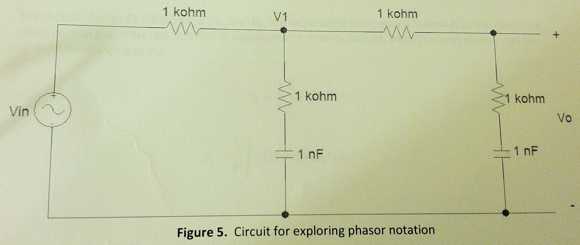 Circuit for exploring phasor notation