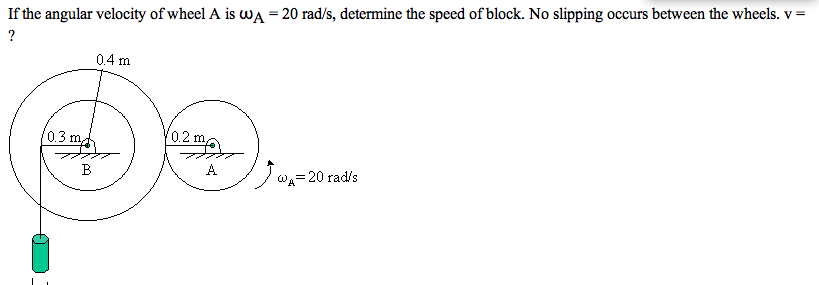 If the angular velocity of wheel A is ?A = 20 rad/