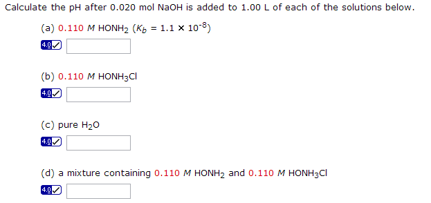 Calculate the pH after 0.020 mol NaOH is added to