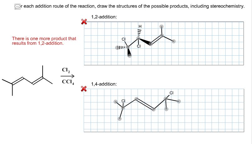each addition route of the reaction, draw the st