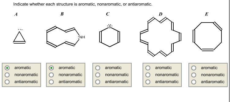 Indicate whether each structure is aromatic, nonar