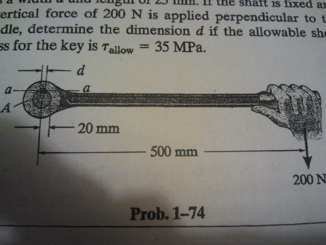The lever is attached to the shaft A using a key t