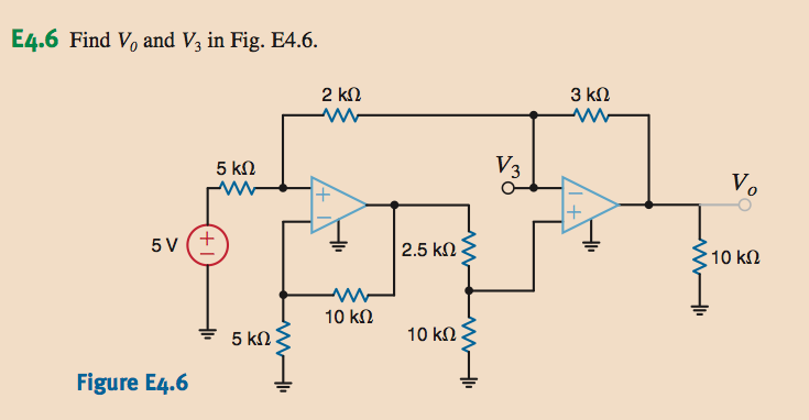 Find V0 and V3 in Fig. E4.6.