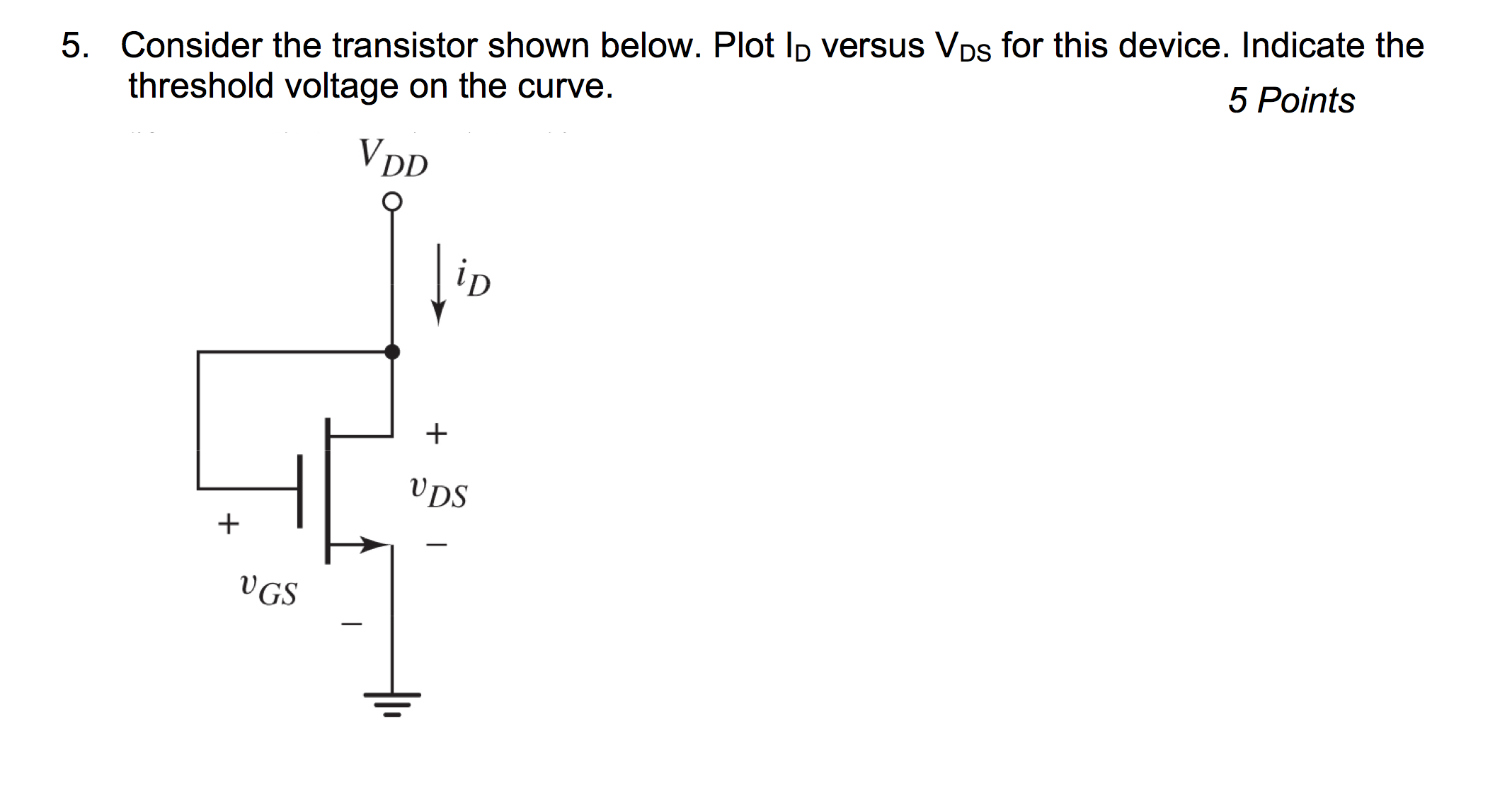 Consider the transistor shown below. Plot ID versu