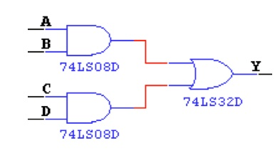 Develop the Boolean equation for the circuit shown
