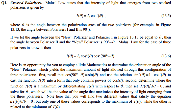 Malus' Law states that the intensity of light that