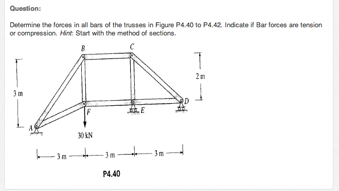 Determine the forces in all bars of the trusses in