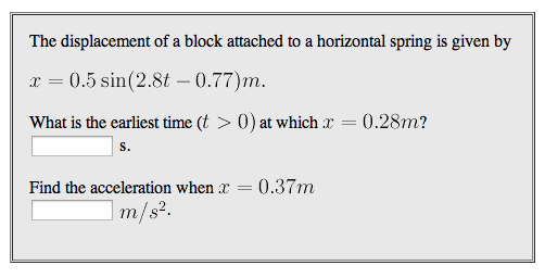 The displacement of a block attached to a horizont