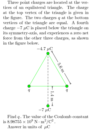Three point charges are located at the vertices of