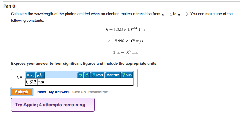 Calculate the wavelength of the photon emitted whe