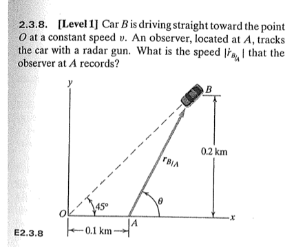 Car B is driving straight toward the point O at a