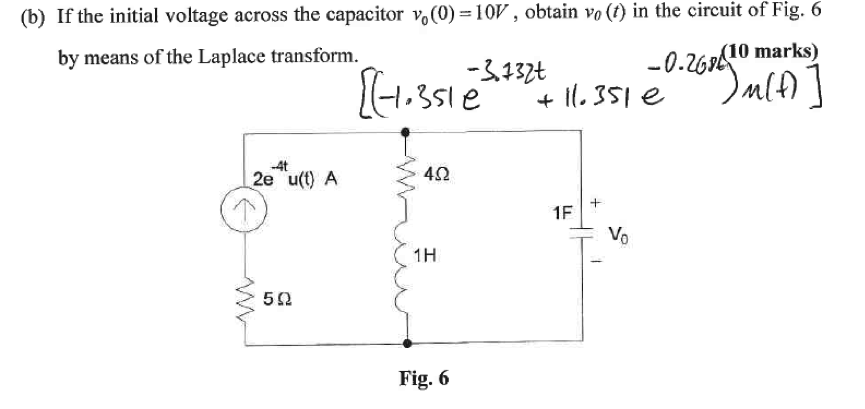 If the initial voltage across the capacitor nu 0(0