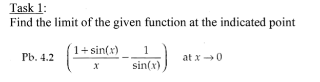 Find the limit of the given function at the indica