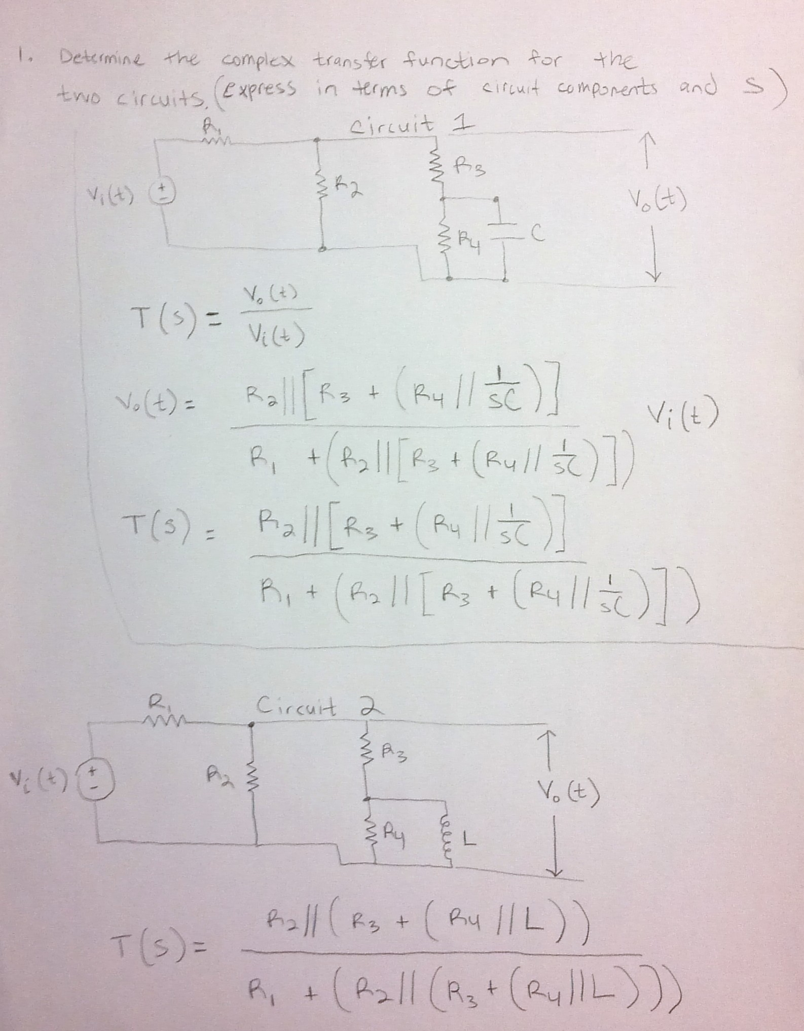 Determine the complex transfer function for the Tw