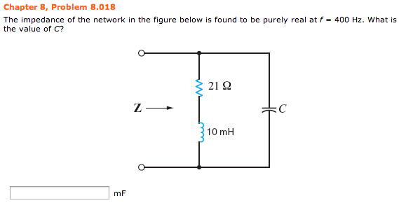 The impedance of the network in the figure below i