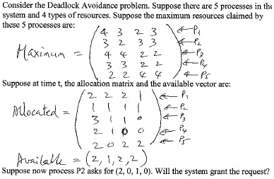 Consider the Deadlock Avoidance problem. Suppose t