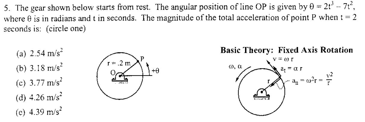 The gear shown below starts from rest. The angular