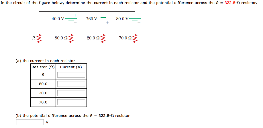 In the circuit of the figure below, determine the