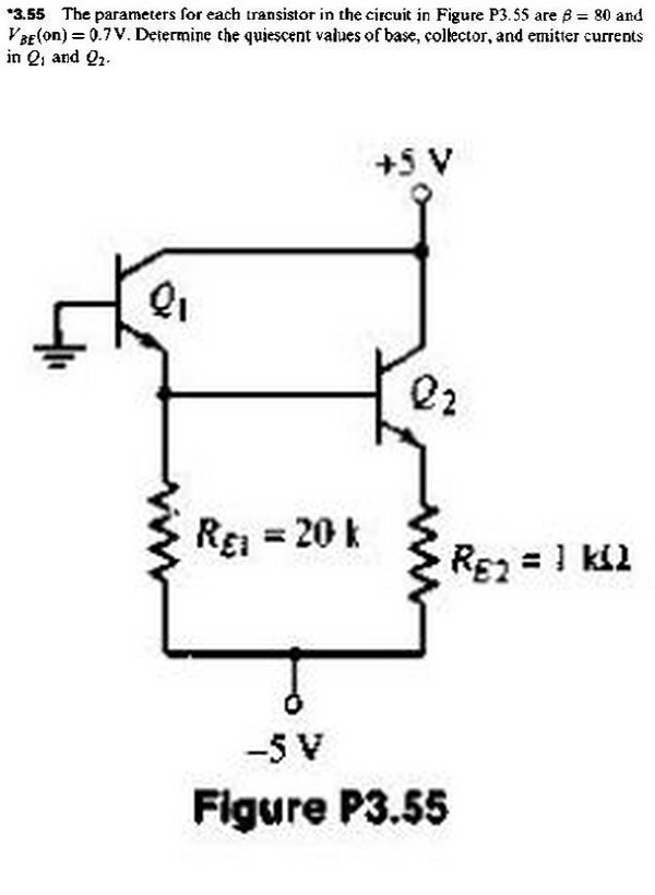 The parameters for each transistor in the circuit