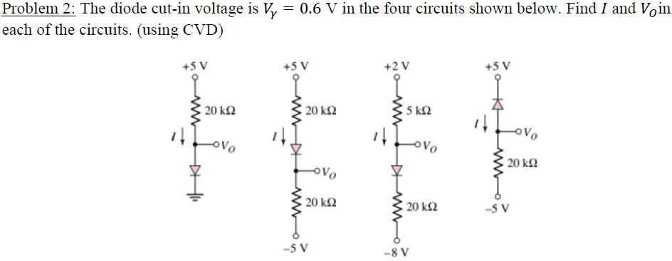 The diode cut-in voltage is V gamma = 0.6 V in t