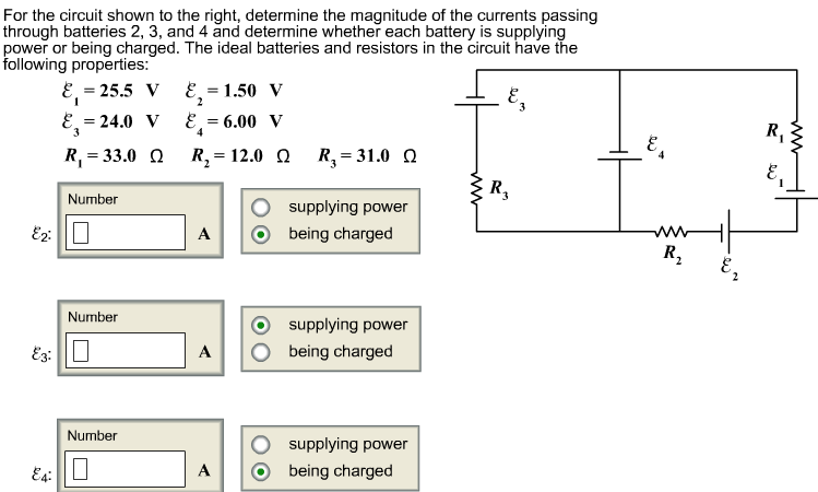 For the circuit shown to the right, determine the