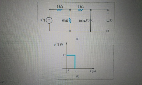 Determine the equation for the voltage vo(t) for t