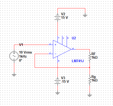 Voltage gain of a non-inverting op-amp