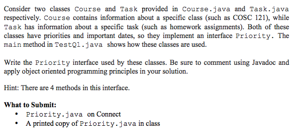 Consider two classes Course and Task provided in C