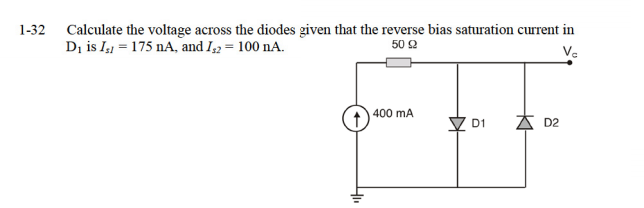 Calculate the voltage across the diodes given that