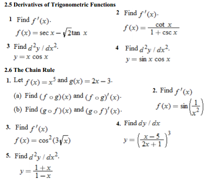 Differentiation of trigonometric functions homework answers