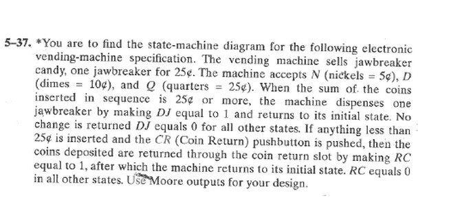 *You are to find the state-machine diagram for the