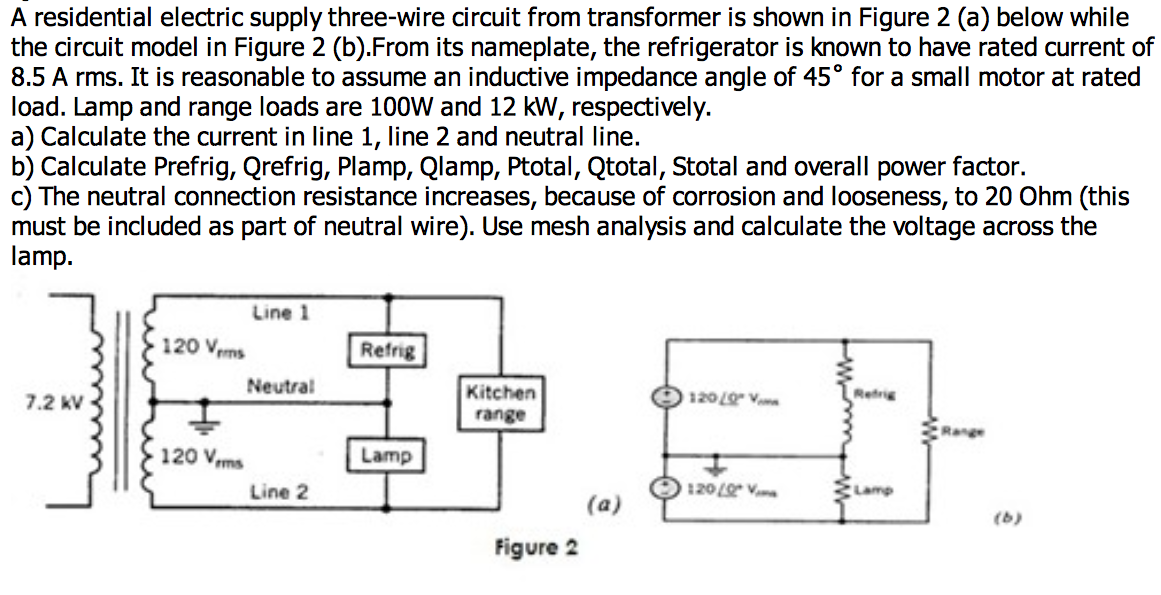 A residential electric supply three-wire circuit f