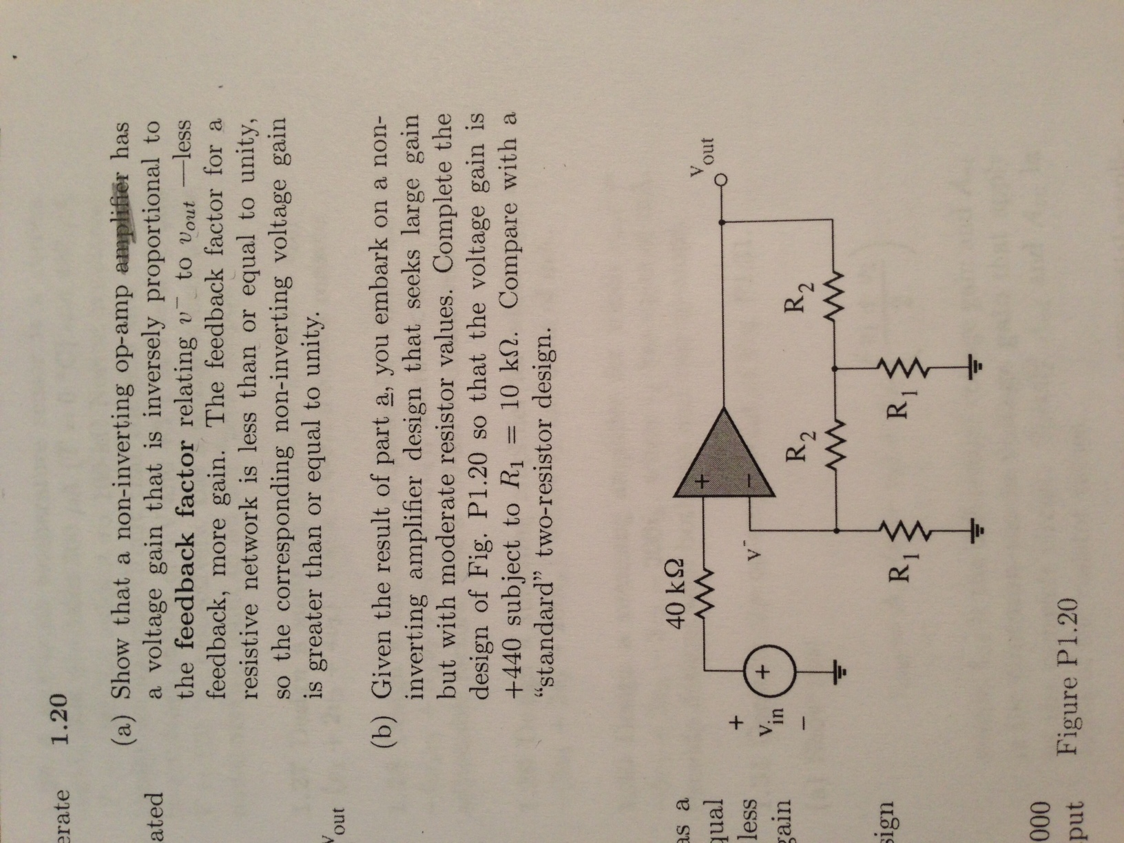 Show that a non-inverting op-amp amplifier has a v