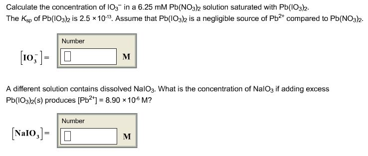 Calculate the concentration of IO3- in a 6.25 mM P