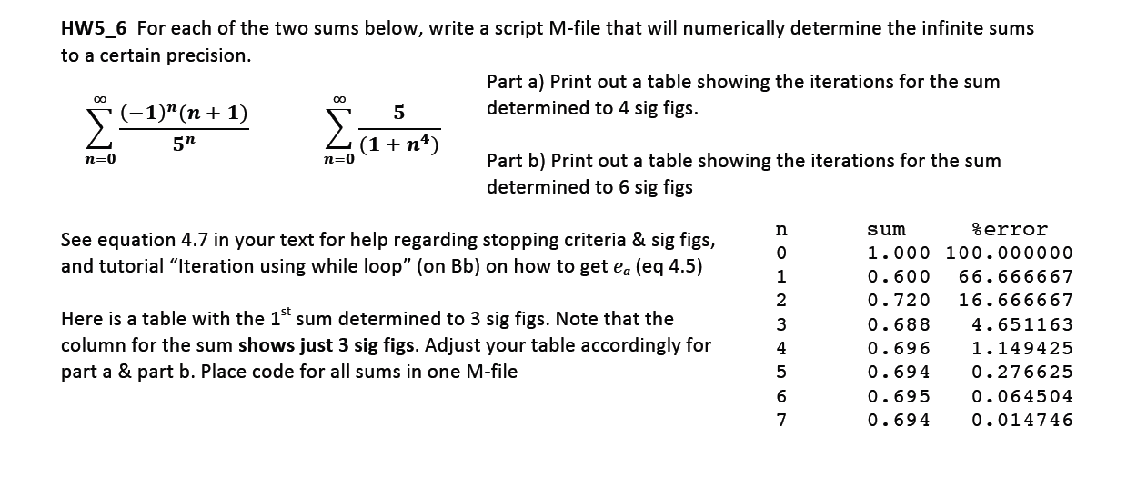 For each of the two sums below, write a script M-f