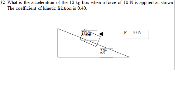 What is the acceleration of the 10-kg box when a f