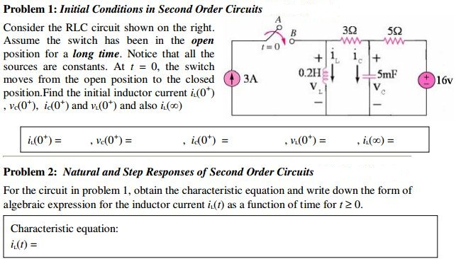 Initial Conditions in Second Order Circuits Consid