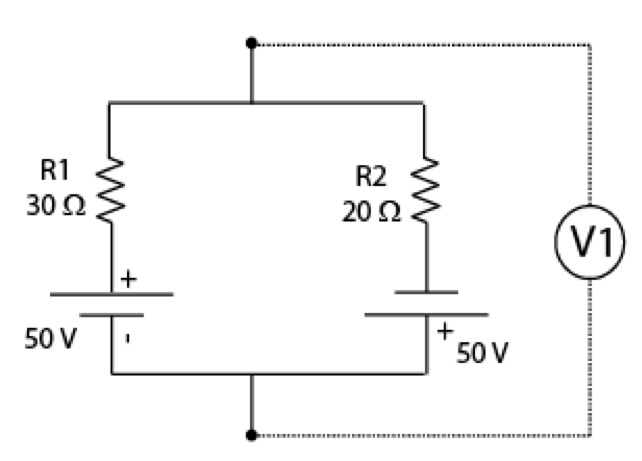 Determine the voltage (V1) in the figure. The poin