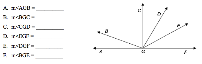 Angle CGF is a right angle, measure of angle DGE =