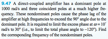 A direct-coupled amplifier has a dominant pole at