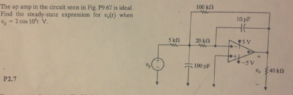 The op amp in the circuit seen in Fig. P9.67 is id