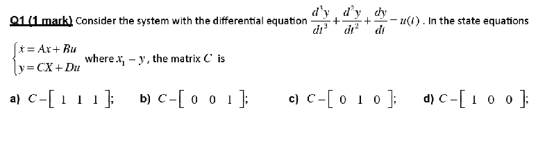 Consider the system with the differential equation
