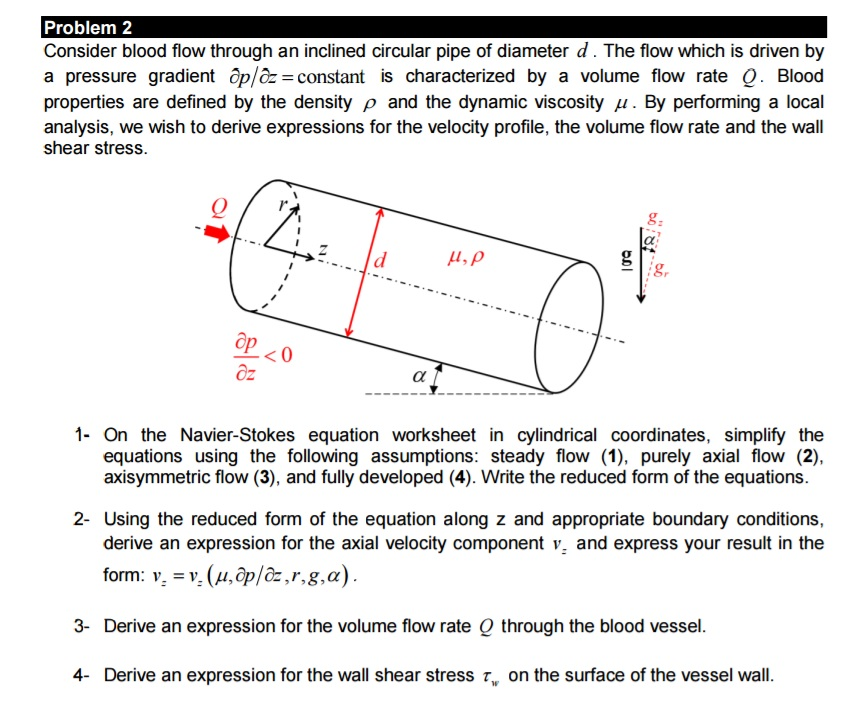 Force Flow Rate Equation: Solved: Consider Blood Flow Through An Inclined Circular P