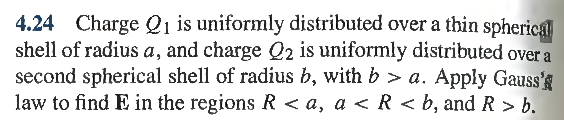 Charge Q1 is uniformly distributed over a thin sph