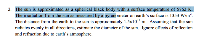The sun is approximated as a spherical black body